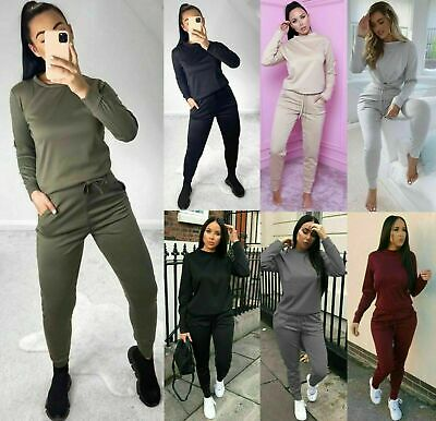 £12.95 • Buy Womens Ladies Long Sleeve Plain Lounge Wear Set Casual Comfy Two Piece Tracksuit
