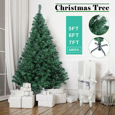 Christmas Tree Artificial Green Xmas Tree Spruce 5/6/7 Ft With Stand • 16.99£