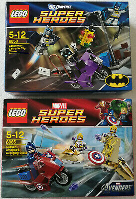 Lego Super Heroes 6865 Captain America's Cycle & 6858 Catwoman Catcycle New • 69.91£