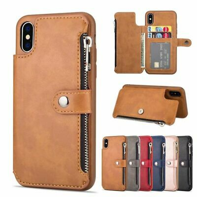 Faux Leather Phone Wallet Card Holder Case Retro Magnetic Cover Coin Money Purse • 14.13£