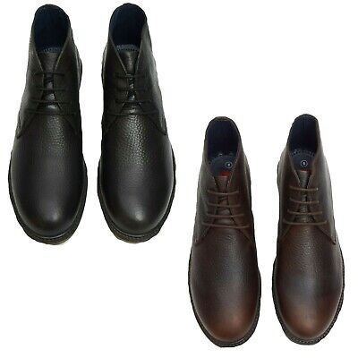 Mens Boots Lucini Lace Up Shoes Formal Wedding Real Leather Smart Ankle Boot • 34.99£