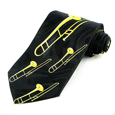 Brass Trombones Men's Music Necktie Musical Instrument Musician Black Neck Tie  • 15$