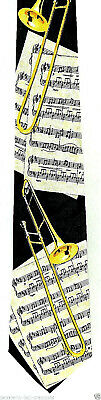 Trombone Score Men's Necktie Musical Instrument Musician Music Black Neck Tie • 15$