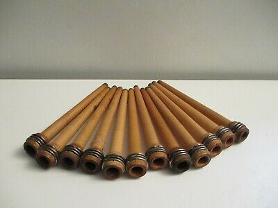 $34.99 • Buy 12 Antique Wooden Textile Thread Spool Yarn Weaving Spindle Bobbins Brass Tips