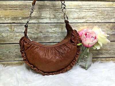 $72.99 • Buy Treesje Brown Pebbled Ruffle Trim Leather Small Hobo Purse Shoulder Bag