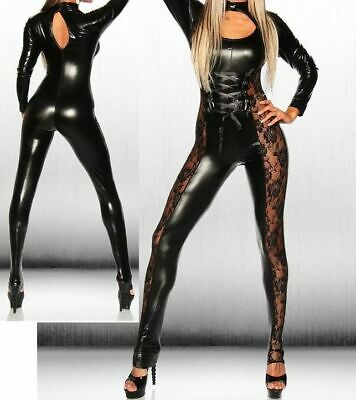 Sexy Black Long Sleeved Lace Sided Pvc Look Jumpsuit Catsuit 8 10 12 • 21.99£
