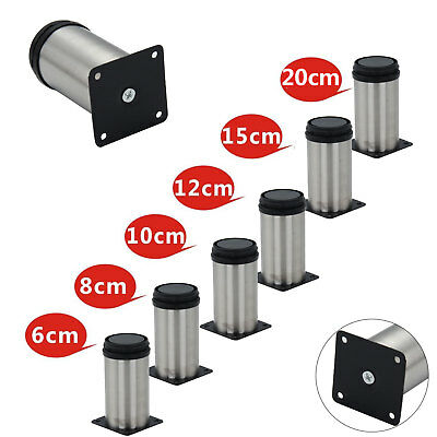 New 4x Adjustable Cabinet Legs Stainless Steel Kitchen Feet Rounds Stand Holders • 6.39£