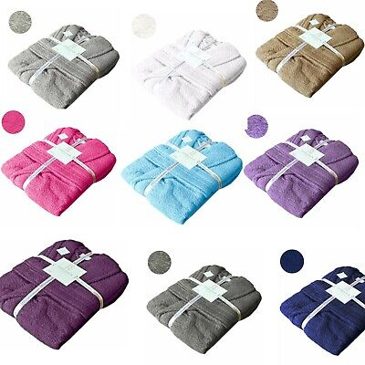 £20.99 • Buy Unisex Hooded 100% Egyptian Cotton Terry Towel Bathrobe Dressing Gown Spa Hotel