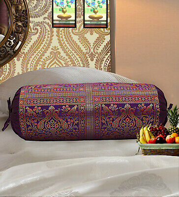 Indian Long Round Pillow Yoga Bolster Massage Beige Cylinder Silk Cushion Cover • 10.15£