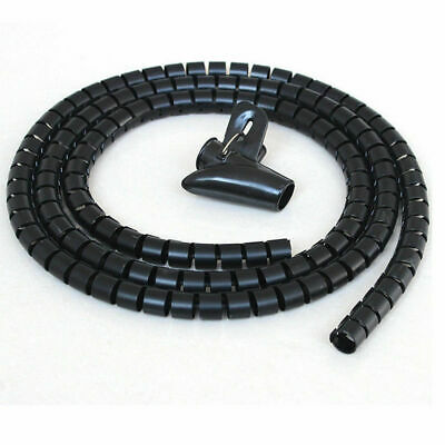 2M Cable Tidy Wire Kit PC TV Organising Wrap Cover Spiral Tube Office Home UK • 3.59£