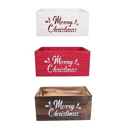 Vintage Christmas Gift Shop Style Wooden Crate Display Storage Box • 11.99£