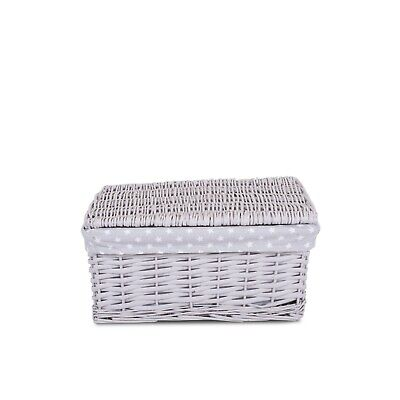 Light Greyrey Wicker Storage Basket With Lid And Lining Greetings Gift Hamper • 13.99£