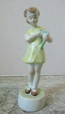 $ CDN31.49 • Buy Old Vintage Porcelain Figurine Young Girl Yellow Dress Bouquet 126/P Blue Mark
