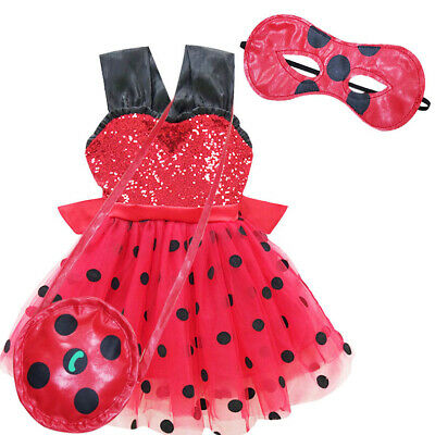 Girls Sequin Ladybug Polka Dot Tutu Costume Bowknot Fancy Dress Bag Outfit • 14.95£
