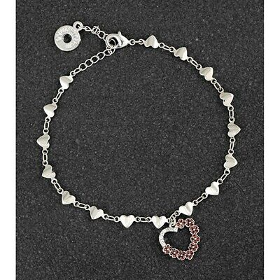 GIFT BOXED Equilibrium Silver Plated Red Poppy Heart Bracelet Diamante 299462 • 14.99£
