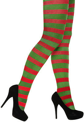 Ladies Red And Green Stripy Tights Elf Xmas Christmas Tights Fancy Dress Costume • 3.49£