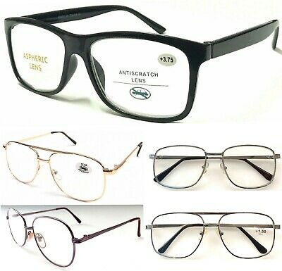 Unisex Popular Large Lens Reading Glasses/Metal Or Plastic Frame/Easy To Read ^^ • 4.49£
