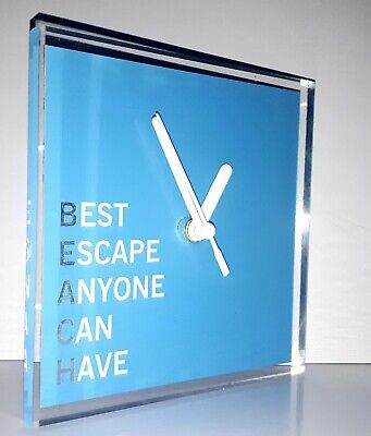 Great Gift - BEACH Quote Sea Sun Campervan Home Office  Wall Clock 150x150x5mm • 10.99£
