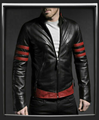Mens X-Men Origins Wolverine Logan 100% Real Sheep Leather Jacket All Sizes • 85.49£