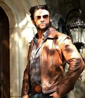 Xmen Wolverine Days Of Future Past Brown Slim Fit Genuine CowHide Leather Jacket • 85.49£