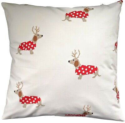Cushion Cover In Laura Ashley Christmas Red Reindeer Dachshund 16  • 8.75£
