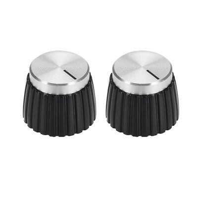 $ CDN9.96 • Buy 2pcs Potentiometer Amplifier Knob Black With Silver Tone Cap Volume Control Knob
