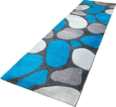 Blue Runner Rug Contemporary Pebble Design Soft Pile 3D Textured Silver Teal • 39.95£