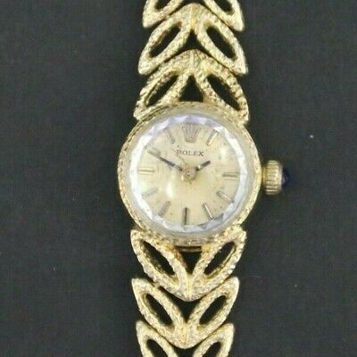 $ CDN2350 • Buy Vintage Rolex Chameleon 14K  Gold Manual Wind Ladies Watch On Gold Bracelet