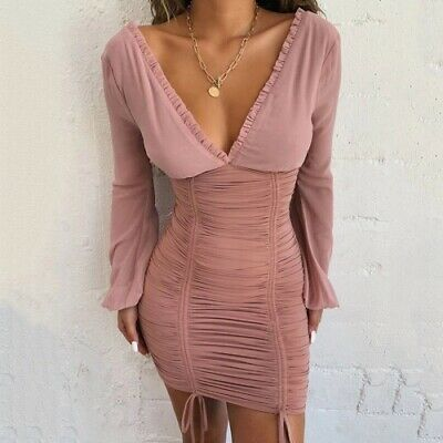 Deep V Sexy Tight Bandage Pleated Dress Size 10/12 • 25£