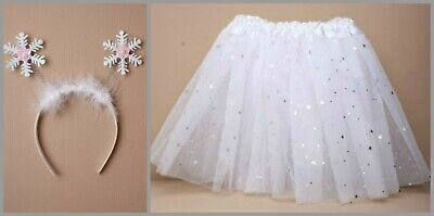 £7.99 • Buy Snowflake Fancy Dress Costume Sparkly Tutu Skirt Childrens Nativity Outfit