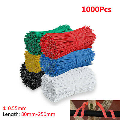 £9.05 • Buy 1000x Φ0.55mm Plastic Coated Cable Ties Twist Ties Length 80-250mm Colorful Flat