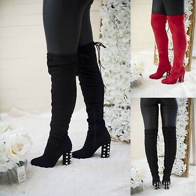 Ladies Womens Over The Knee Thigh High Mid Block Studs Heel Zip Stretch Boots Sz • 10.99£