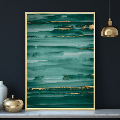 Green & Gold Minimalist Watercolour Painting Wall Art Print Poster A4 A3 A2 A1 • 9.99£