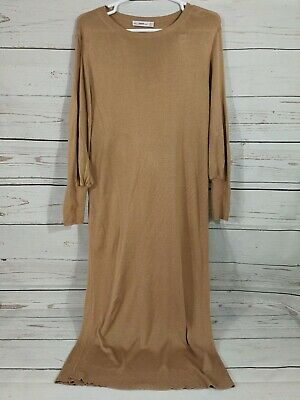 $28.99 • Buy Zara Knit Long Dress ~ Tan ~ Long Sleeve ~ Women's Small S