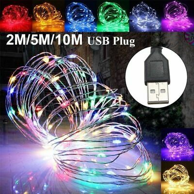 $1.97 • Buy 5/10M USB 100LED Silver Waterproof Wire String Fairy Light Strip Lamp Xmas Party