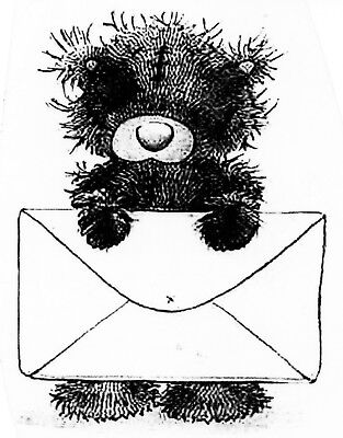 Teddy Bear With Large Congratulations Mail Message Envelope Cartoon Clear Stamp • 7.67£