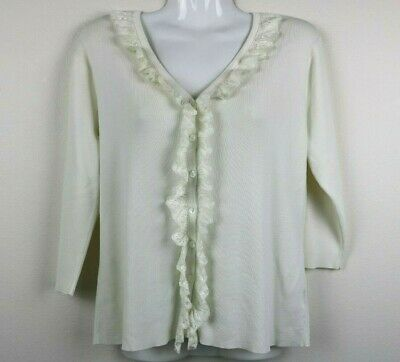 $ CDN18.48 • Buy Debbie Morgan Womens Blouse Lace Buttons V Neck 3/4 Sleeve White Size Small EUC