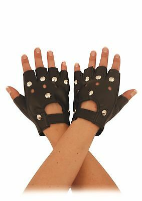 £1.95 • Buy Studded Leather Faux Fingerless Gloves Goth Biker Punk Rock Cycling Driving