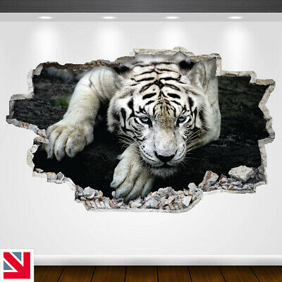 WHITE TIGER BIG CAT ANIMAL Wall Sticker Vinyl Decal Mural Poster • 18.99£