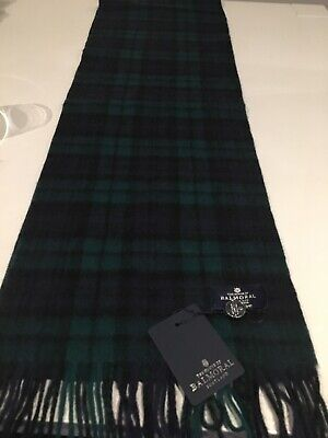 The House Of Balmoral Black Watch Tartan Lambswool Scarf Superior Quality Warm • 17£