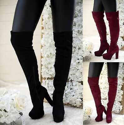 Ladies Womens Over The Knee Chuunky Block High Heel Thigh High Boots Size 3-7 Uk • 8.95£