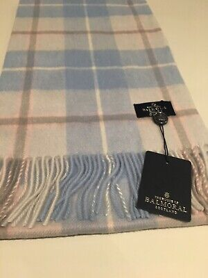 Balmoral Warm Soft Lambswool Scarf Pink Blue Block Check Tartan Classic Shawl • 15£