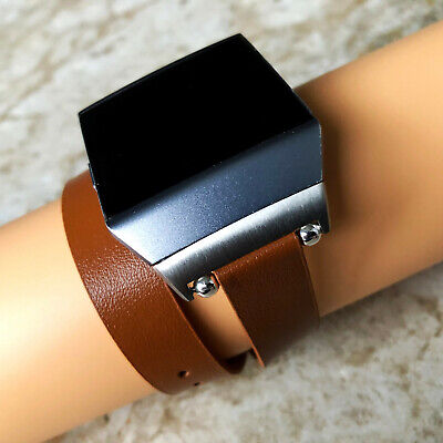 AU51.15 • Buy Brown Double Wrap Soft Leather Band Strap Bracelet For Fitbit Ionic Smartwatch