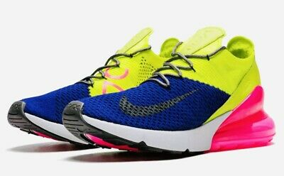 Nike Air Max 270 Flyknit Mens Running Shoes Bright Neon Volt Pink Brand New 720 • 64.95$