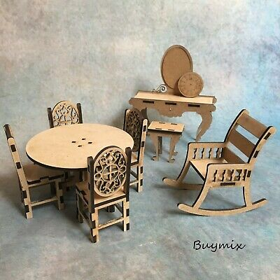 Various Wooden Dolls House Miniature Furniture MDF Vintage Table Chairs Clock • 5.99£