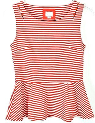 $ CDN31.42 • Buy Anthropologie Postmark 9-HI5 Stcl Peplum Tank Top Small Red Striped Sleeveless