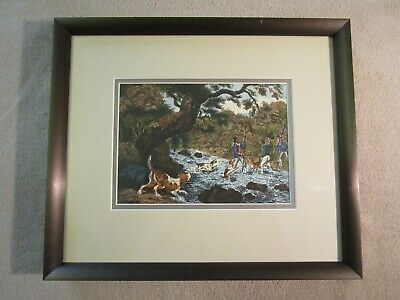 Samuel Howitt Handscreen Pure Silk Print By Langley Prints Ltd. Hunting Scene. • 25£