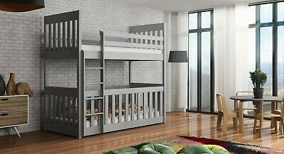 Children Wooden Pine Bunk Bed Cris With Cot Bed 3 Colours & Mattresses Available • 429£