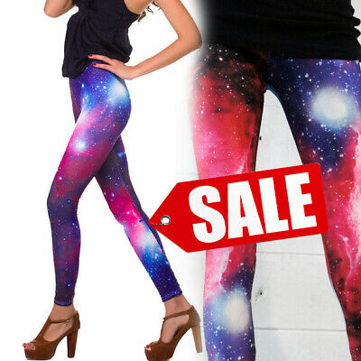 £3.44 • Buy SALE Women's Galaxy Cosmic Printed Planet Space Leggings Stretchy Pants M-XL USA