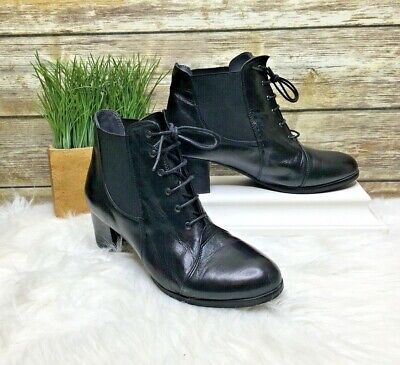 $82.99 • Buy Everybody Gia Black Genuine Leather Sz 8 38 Lace Up Ankle Boots Booties